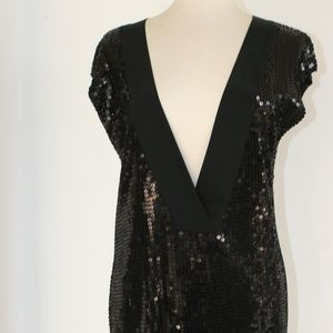 VELVET BRAND MINI DRESS/TUNIC IN SEQUINED BLACK S